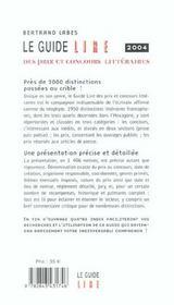 Guide lire prix conc litt 4ed (édition 2004) - 4ème de couverture - Format classique