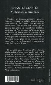 Vivantes Clartes - Meditations Cartusiennes - 4ème de couverture - Format classique
