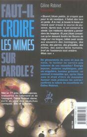 Faut-il croire les mimes sur parole ? - 4ème de couverture - Format classique