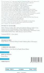Revue Europe N.896 ; Emmanuel Bove - 4ème de couverture - Format classique