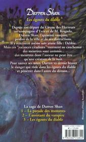 La saga de Darren Shan t.3 ; les égoûts du diable - 4ème de couverture - Format classique