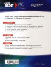 Institutions de l'union européenne (2e édition) - 4ème de couverture - Format classique