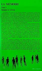 Memoire (la) Tome 1 Memoire Et Cerveau - 4ème de couverture - Format classique