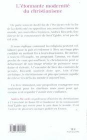 L'etonnante modernite du christianisme - 4ème de couverture - Format classique