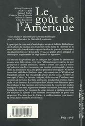 La petite anthologie t.1 ; le goût de l'Amérique - 4ème de couverture - Format classique