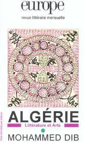 Revue Europe ; Algérie : Littérature Et Arts ; Mohammed Dib - Intérieur - Format classique