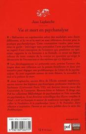 Vie et mort en psychanalyse - 4ème de couverture - Format classique