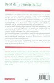 Droit de la consommation - 4ème de couverture - Format classique