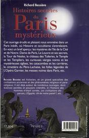 Histoires secrètes de Paris - 4ème de couverture - Format classique