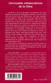 L'Incroyable Metamorphose De La Chine - 4ème de couverture - Format classique