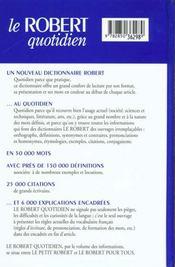 Le Robert Quotidien ; 10 E Edition - 4ème de couverture - Format classique