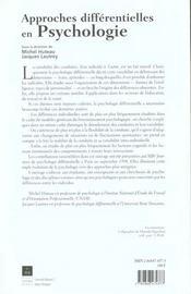 Approches differentielles en psychologie [actes des xiiies journees de psychologie differentielle, p - 4ème de couverture - Format classique