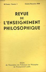 REVUE DE L'ENSEIGNEMENT PHILOSOPHIQUE, 10e ANNEE, N° 1, OCT.-NOV. 1959 - Couverture - Format classique