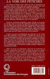 La Voie Des Fetiches - 4ème de couverture - Format classique