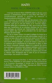 Haïti ; misère de la démocratie - 4ème de couverture - Format classique