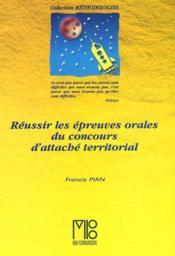 Reussir Les Epreuves Orales Du Concours D'Attache Territorial - Couverture - Format classique