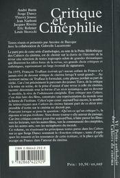 La petite anthologie t.6 ; cruitique et cinéphilie - 4ème de couverture - Format classique