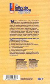 Lettre de motivation efficace (la) - 4ème de couverture - Format classique