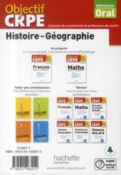 Objectif Crpe ; Histoire/Géographie ; Admission Oral ; Plus De 70 Fiches Synthétiques Et Structurées (Edition 2014/2015) - 4ème de couverture - Format classique