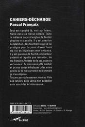 Cahiers-décharge - 4ème de couverture - Format classique
