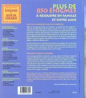 Enigmes Et Jeux De Logique - 4ème de couverture - Format classique