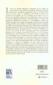 L art de l irritation chez thomas bernhard.. ars moriendi, modus vive ndi - 4ème de couverture - Format classique