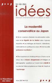 La vie des idées n.20 ; la modernité conservatrice au japon - Intérieur - Format classique