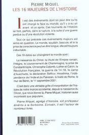 Les 16 Majeures De L'Histoire ; Les Dates Qui Ont Change Le Monde - 4ème de couverture - Format classique