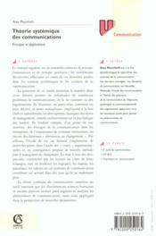 Theorie systemique des communications - principes & applications - 4ème de couverture - Format classique