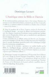 L'Amérique entre la bible et Darwin (2e édition) - 4ème de couverture - Format classique