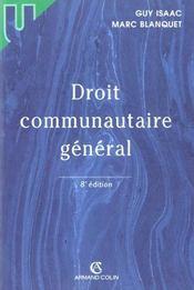 Droit Communautaire Général - Intérieur - Format classique