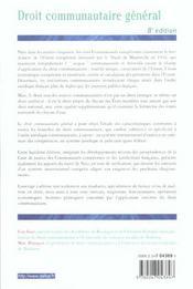 Droit Communautaire Général - 4ème de couverture - Format classique