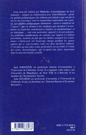 Methodes Econometriques - 4ème de couverture - Format classique