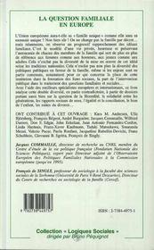 La Question Familiale En Europe - 4ème de couverture - Format classique