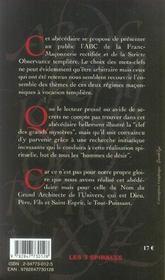 Abcdaire de la franc-maçonnerie templière - 4ème de couverture - Format classique