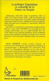 La politique linguistique et culturelle de la France en Turquie - 4ème de couverture - Format classique