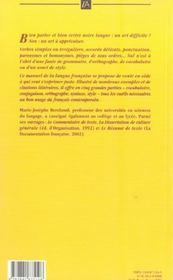 Le bon francais - 4ème de couverture - Format classique