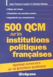 500 qcm sur les institutions politiques francaises special concours fonction - Intérieur - Format classique