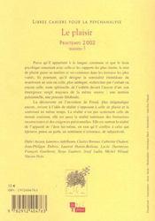 Libres cahiers pour la psychanalyse n 5 2002 - 4ème de couverture - Format classique