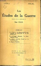 Les Etudes De La Guerre - Cahier 10 - Avril 1918. - Couverture - Format classique