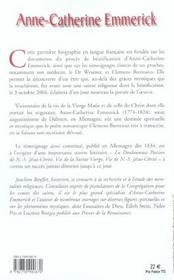 Anne-Catherine Emmerick Celle Qui Partagea La Passion De Jesus - 4ème de couverture - Format classique