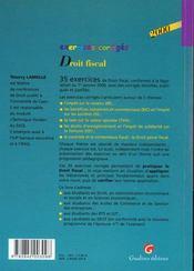 Exercice corriges droit fiscal 2000 - 4ème de couverture - Format classique