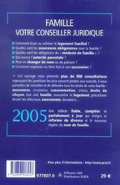 Famille, Votre Conseiller Juridique - 4ème de couverture - Format classique