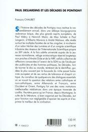 Paul desjardins et les decades de pontigny - 4ème de couverture - Format classique