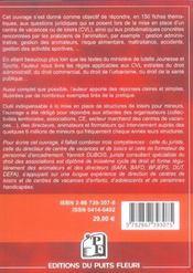 Reglementation Des Centres De Vacances Et De Loisirs. 150 Fiches Thematiques Pou - 4ème de couverture - Format classique
