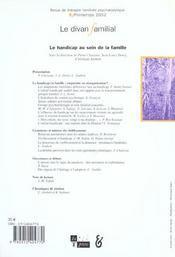 Le divan familial n 8 2002 - 4ème de couverture - Format classique