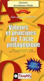 Valeurs et principes de l'acte pédagogique - Couverture - Format classique