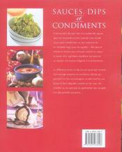 Sauces, dips et condiments - 4ème de couverture - Format classique