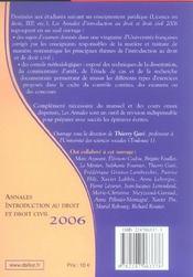 Annales introduction au droit et droit civil 2006. methodologie & sujets corriges (édition 2006) - 4ème de couverture - Format classique