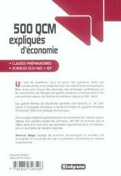 500 Qcm Expliques D'Economie - 4ème de couverture - Format classique